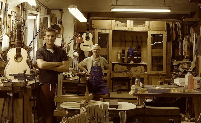 me and my father in workshop